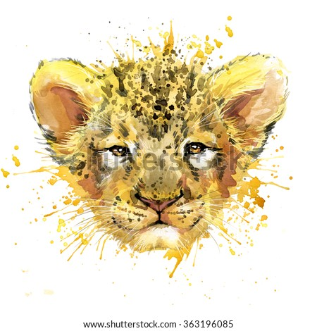 Lion cub T-shirt graphics, watercolor Lion cub illustration with splash watercolor textured background. illustration watercolor cute Lion cub  for fashion print, poster for textiles, fashion design - stock photo