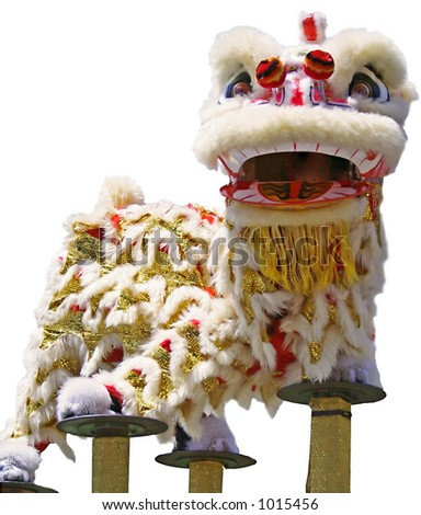 lion dance performance - stock photo