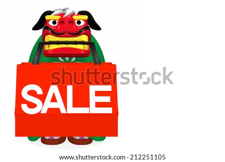 Lion Dance That Bites Shopping Bag With Text Space. 3D render illustration For New Year's Day In japan. For New Year Greeting Postcard. Isolated On White.