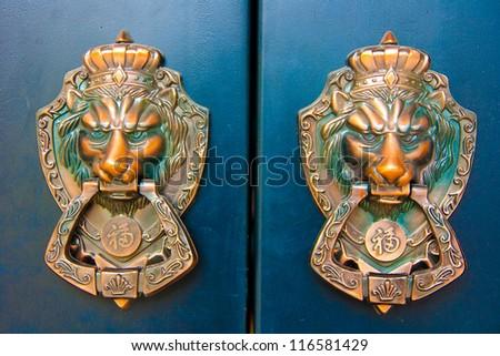 lion door knob - stock photo