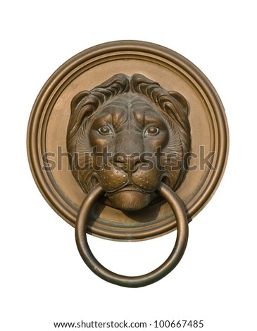Lion door knocker isolated on white - stock photo