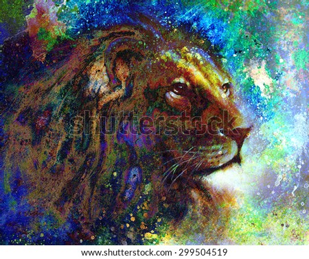 lion face profile portrait, on colorful abstract  background. - stock photo