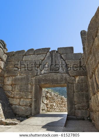 Lion Gate at Mycenae, Greece - archaeology background - stock photo