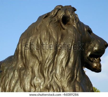 Lion guarding Nelson's column - stock photo