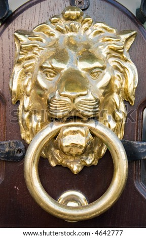 Lion Head Door Knocker - stock photo