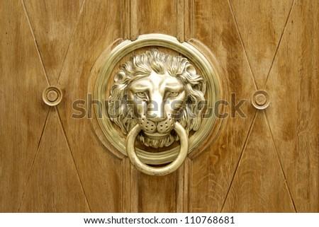 Lion Head Door Knocker, Ancient Knocker - stock photo