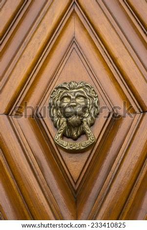 Lion Head Door Knocker on a wooden door. - stock photo