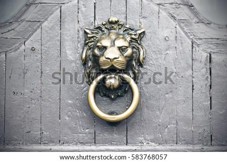 Lion Head Door Knocker, Vintage Gray Door, Exterior