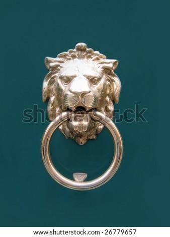 lion head doorknocker - stock photo