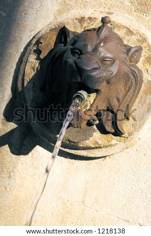 Lion head fountain in Aix-en-Provence, France - Angled - stock photo