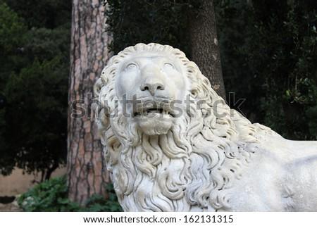 Lion Head Marble Statue - stock photo
