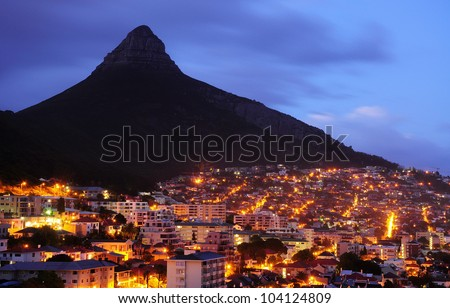Lion head of Cape Town city at night - stock photo
