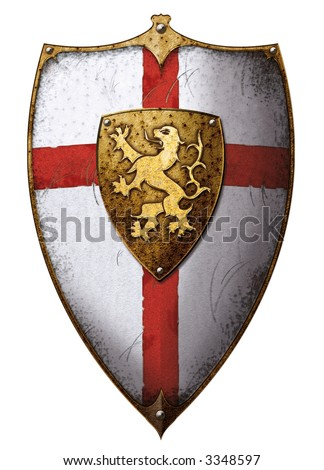 lion-heart templar shield with lion and cross - stock photo