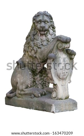 Lion holding the coat of arms of the city of Gdansk - isolated on white - stock photo