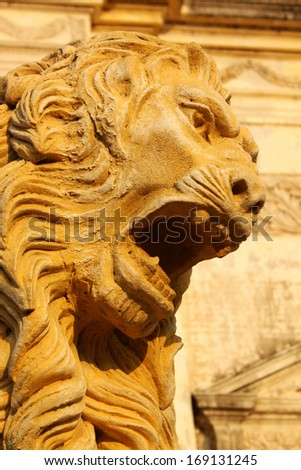 Lion in front of the Cathedral of Leon, Nicaragua  - stock photo
