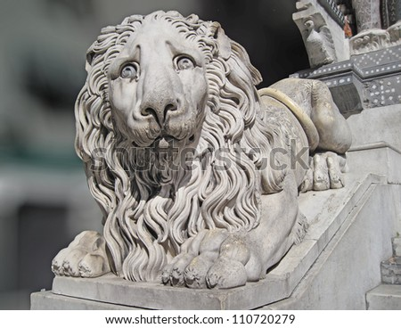Lion in front of the Cattedrale di San Lorenzo cathedral church, Genoa, Italy