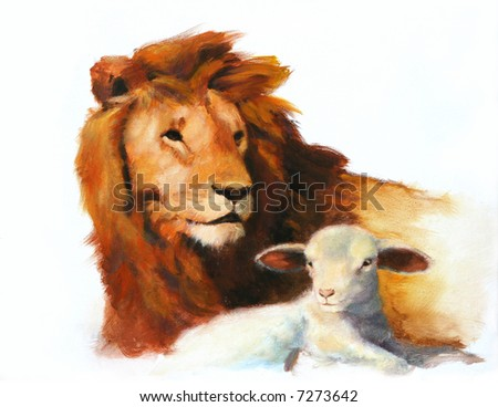 Lion & Lamb Painting - stock photo