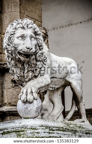 Lion marble statue in Florence - stock photo