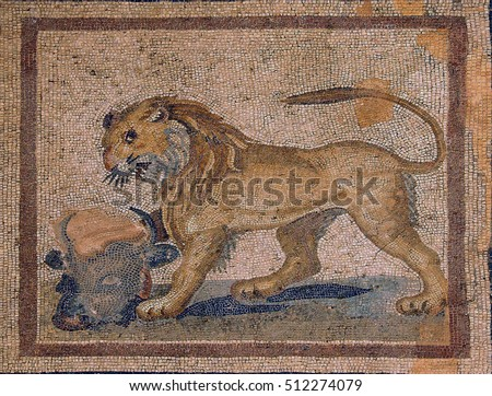 Lion mosaic    from ancient Greek and Roman city of  Ephesus,  Turkey