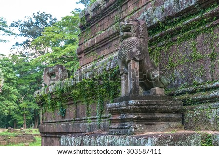 lion of the temple phimeanakas in the archaeological angkor thom place in siam reap cambodia