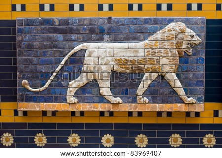 Lion on Babylonian mosaic, fragment of the Ishtar Gate in Istanbul, Turkey - stock photo