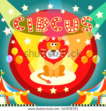 Lion on the circus arena poster illustration template - stock photo