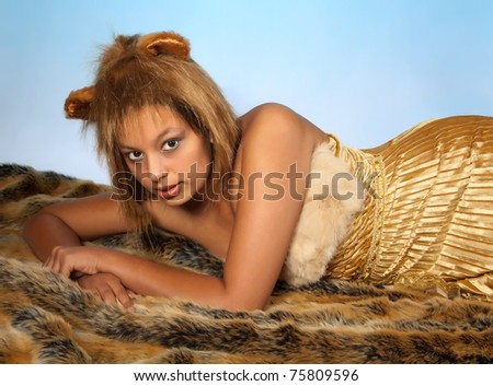 Lion or Leo woman - stock photo