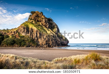 Lion Rock  (Piha Beach, New Zealand) - stock photo