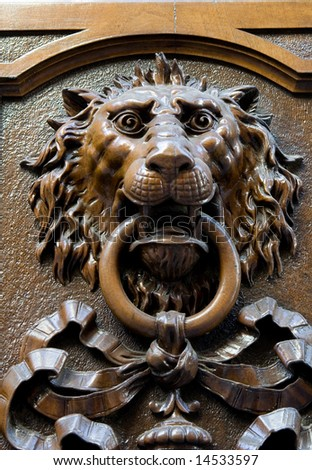 lion´s head door ornament - stock photo