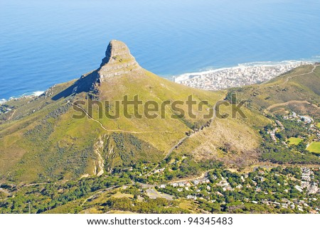 Lion's Head is a mountain located in Cape Town, South Africa, between Table Mountain and Signal Hill. The peak is part of the Table Mountain National Park. - stock photo