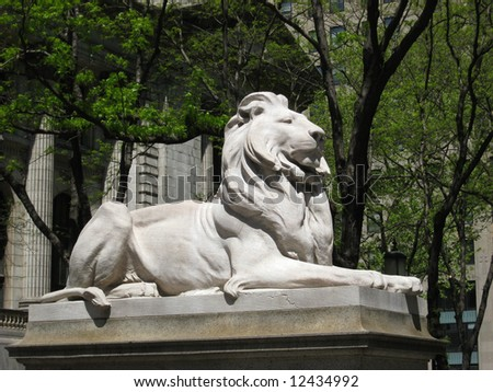 Lion Sculpture at the New York Public Library - stock photo