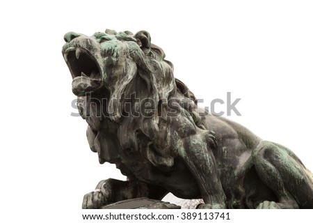 lion sculpture, isolated on white - stock photo