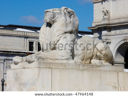 Lion sculpture near Union station in Washington DC - stock photo