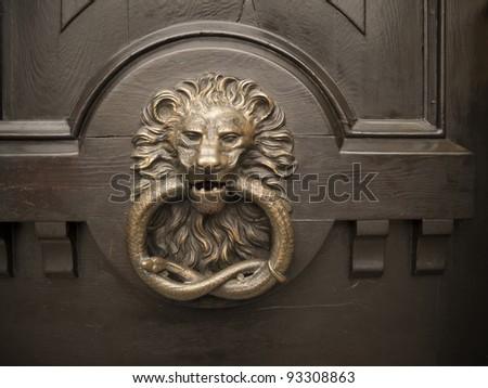 Lion Shape Old Door Handle