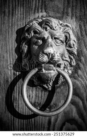 Lion shaped antique vintage style bronze doorknocker the symbol of strenght an protect on wooden door, black and white image - stock photo