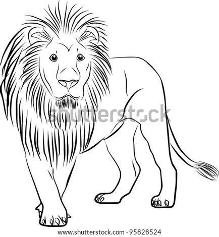 lion silhouette - freehand on a white background - stock photo