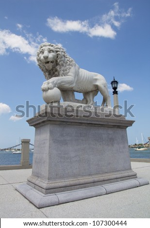 Lion Statue at the Bridge of Lions in St Augustine, FL, USA.