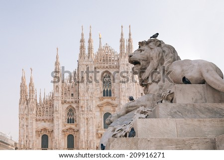 Lion statue in Milano  - stock photo