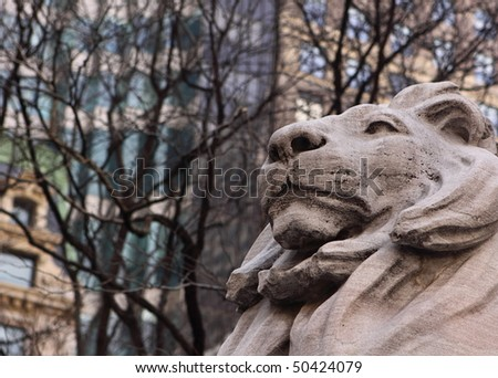 Lion Statue in New York Public Library - stock photo