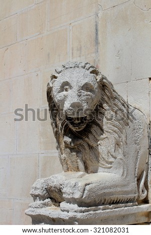 Lion Statue in Visso Village ( Marche  Italy )
