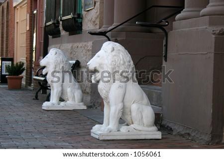 Lion Statues - stock photo