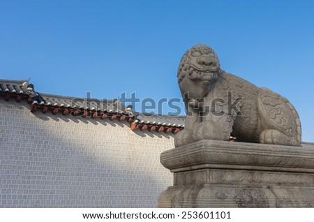 Lion statues of Gyeongbokgung Palace in Seoul, South Korea - stock photo