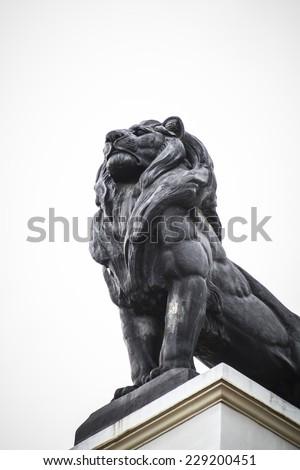 Lion stone, Spanish city of Valencia, Mediterranean architecture - stock photo