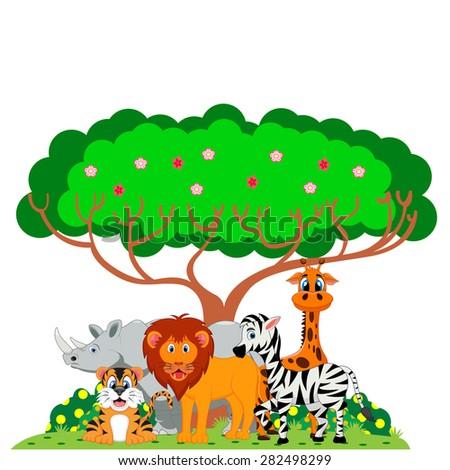Lion, tiger, zebra, rhino and giraffe were playing under a tree - stock photo