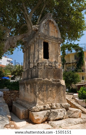 Lion Tomb, Kas, Turkey, ancient Lykain tomb dating from 4th century BC. - stock photo