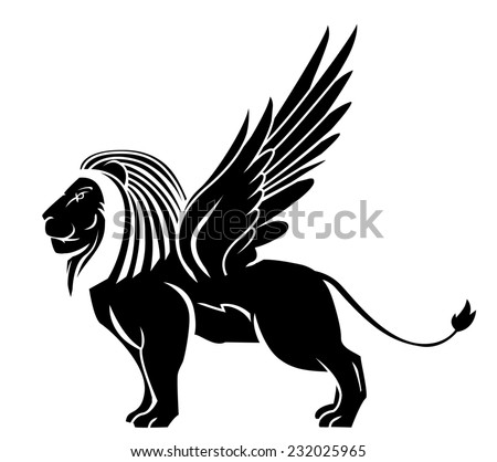 lion wing tattoo - stock photo