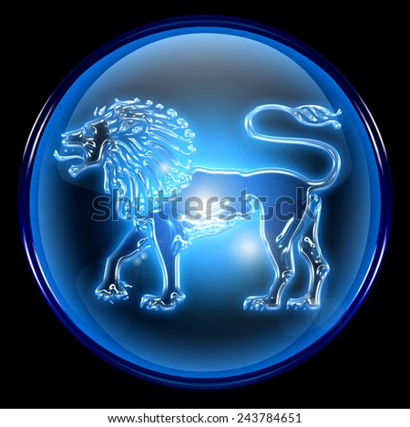 Lion zodiac button icon, isolated on black background.