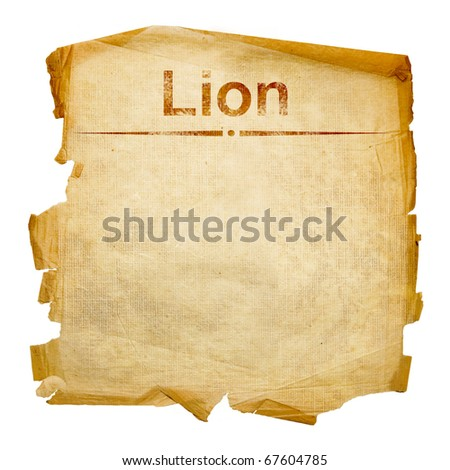 Lion zodiac old, isolated on white background.
