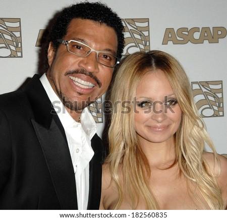 Lionel Richie,Nicole Richie at Twenty-fifth Annual ASCAP Pop Music Awards, Kodak Theatre, Los Angeles, CA, April 09, 2008 - stock photo