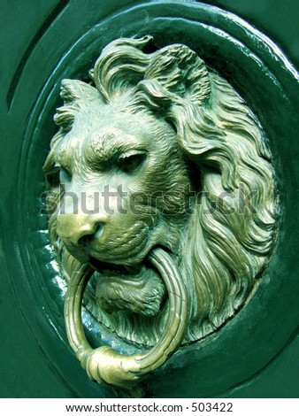 Lionhead knocker door - stock photo